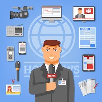 Ilustración de concepto de periodista