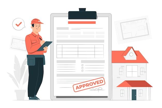 Ilustración de concepto de permiso de construcción