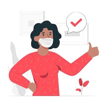 Ilustración del concepto de persona con mascarilla médica