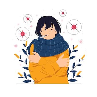 Ilustración de concepto de persona, niña, mujer con resfriado, enfermo, enfermo y termómetro