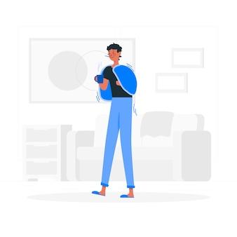 Ilustración del concepto de persona resfriada