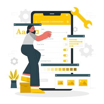 Ilustración del concepto de personalización avanzada