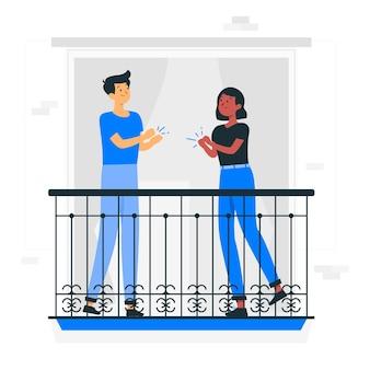 Ilustración del concepto de personas aplaudiendo en los balcones
