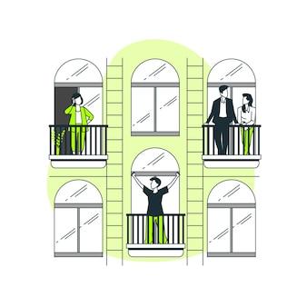 Ilustración del concepto de personas en los balcones/ventanas