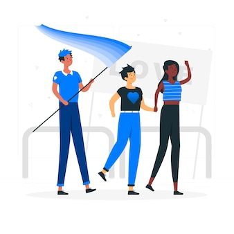 Ilustración del concepto de personas celebrando el día del orgullo