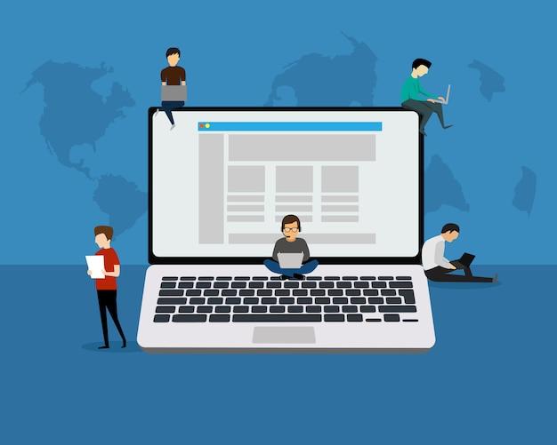 Ilustración de concepto de personas portátiles de jóvenes que usan computadoras portátiles, tabletas para redes sociales y blogs