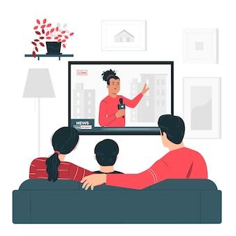 Ilustración del concepto de personas viendo las noticias
