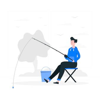 Ilustración de concepto pescar