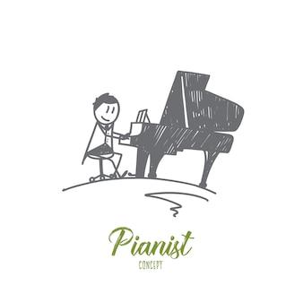 Ilustración del concepto de pianista