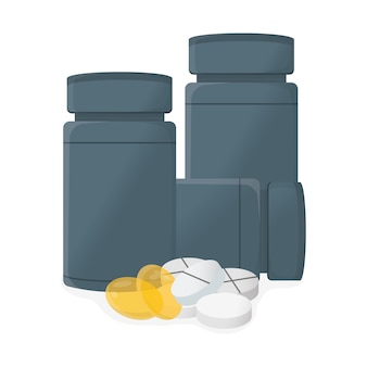 Ilustración del concepto de píldora y gragea