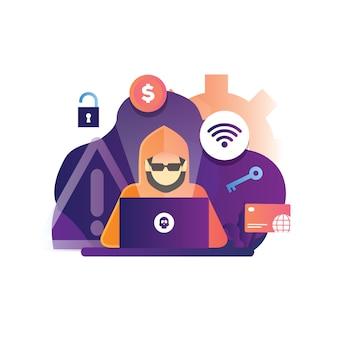 Ilustración del concepto de pirata informático que piratea una web de internet para explotar la tarjeta de crédito en línea