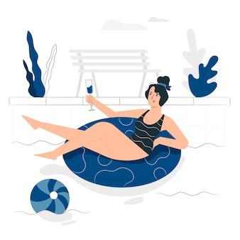 Ilustración de concepto en la piscina