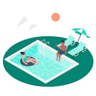Ilustración del concepto de en la piscina