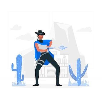 Ilustración del concepto de pistolero