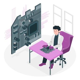 Ilustración de concepto de placa de circuito impreso