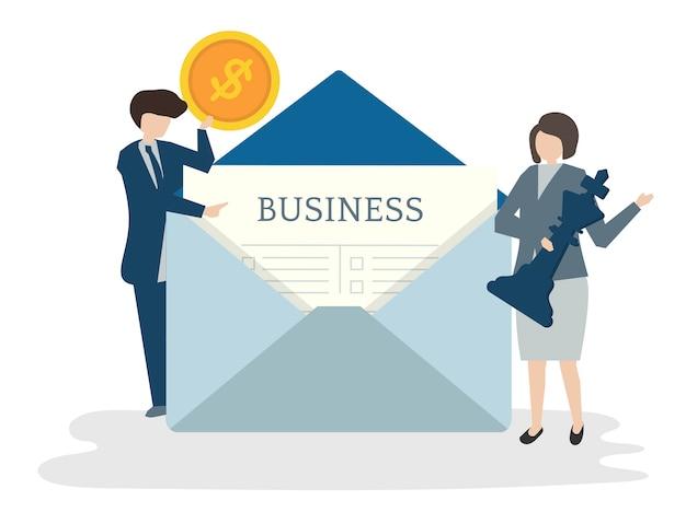 Ilustración del concepto de plan de negocios de personas avatar