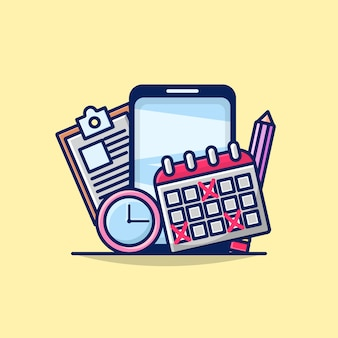 Ilustración del concepto de planificador móvil con teléfono, calendario, lápiz, reloj e icono de documento.