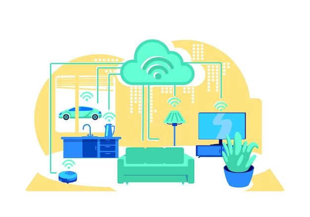 Ilustración de concepto plano de casa inteligente interior