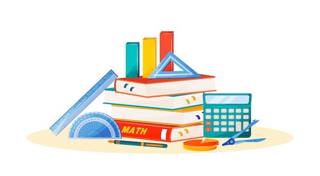 Ilustración de concepto plano de matemáticas. asignatura escolar. metáfora de la ciencia formal. clase de álgebra y geometría. curso universitario. artículos de libro de texto, calculadora y regla del estudiante objetos de dibujos animados en 2d