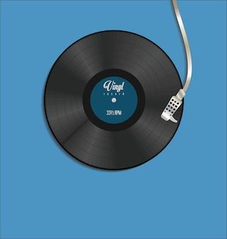 Ilustración de concepto plano simple de disco giratorio y disco de vinilo