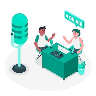 Ilustración del concepto de podcast
