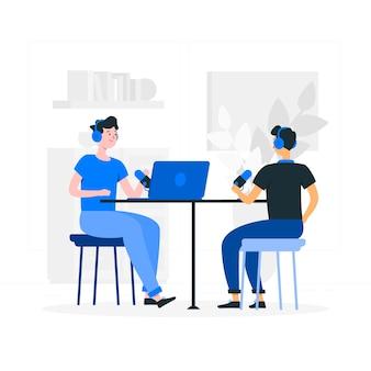 Ilustración de concepto podcast
