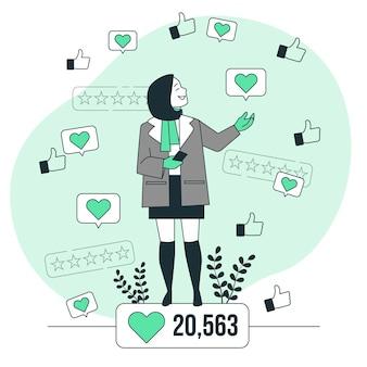 Ilustración de concepto de popularidad en línea