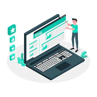 Ilustración de concepto de post de blog