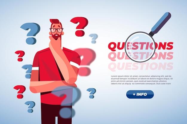 Ilustración de concepto de preguntas planas