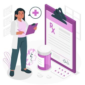 Ilustración de concepto de prescripción médica