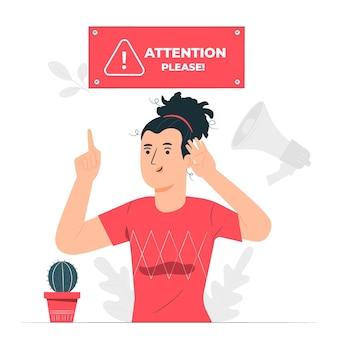 Ilustración del concepto de prestar atención