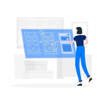 Ilustración de concepto de proceso de diseño