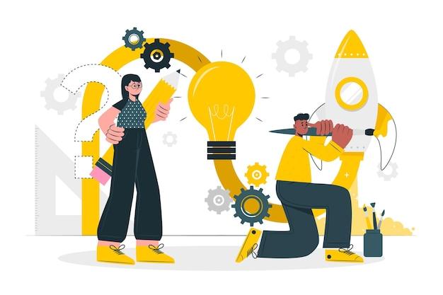 Ilustración del concepto de proceso de diseño