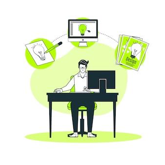 Ilustración del concepto del proceso de diseño