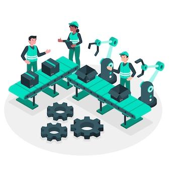 Ilustración del concepto de proceso de fabricación