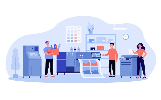 Ilustración del concepto de producción de impresión