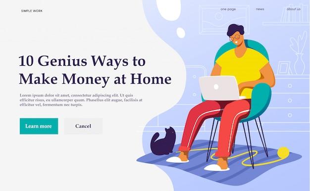 Ilustración del concepto un profesional independiente que trabaja en casa con gato.