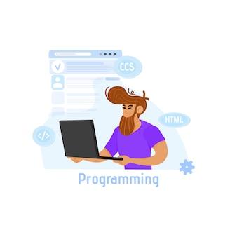 Ilustración del concepto de programación, un hombre trabaja en una computadora portátil de forma remota.