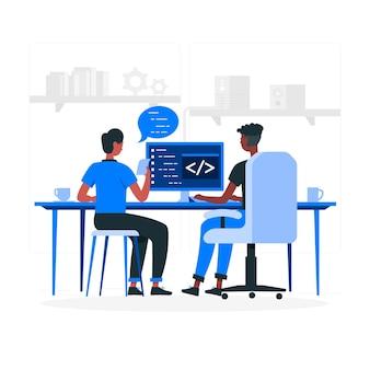 Ilustración del concepto de programación en pareja