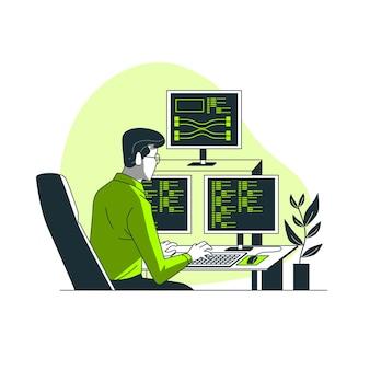 Ilustración del concepto de programando