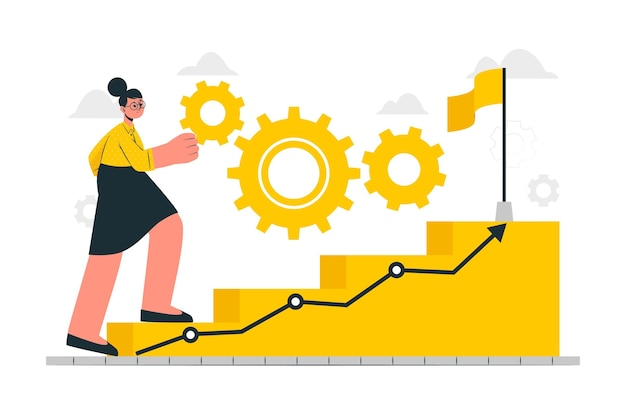 En la ilustración del concepto de progreso