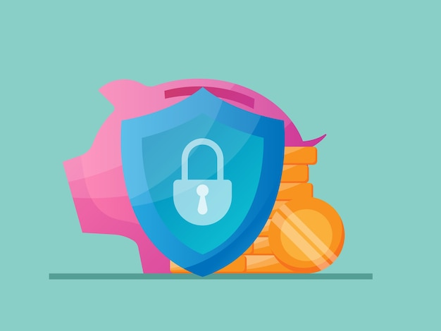 Ilustración de concepto de protección de ahorro de dinero plana