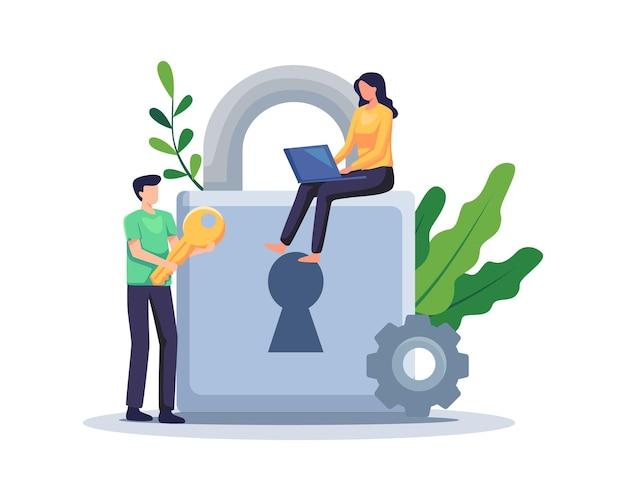 Ilustración del concepto de protección de datos. seguridad cibernética, acceso a datos confidenciales. vector en un estilo plano