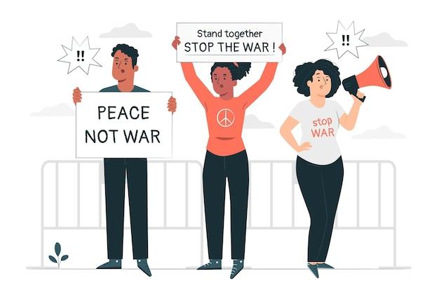 Ilustración del concepto de protesta contra la guerra