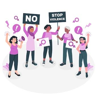 Ilustración del concepto de protesta del día de la mujer