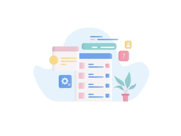 Ilustración del concepto de prueba en línea en estilo plano