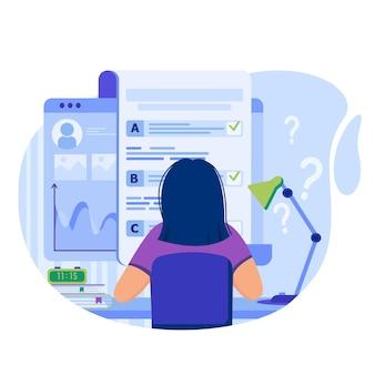 Ilustración de concepto de prueba en línea con personajes en diseño plano