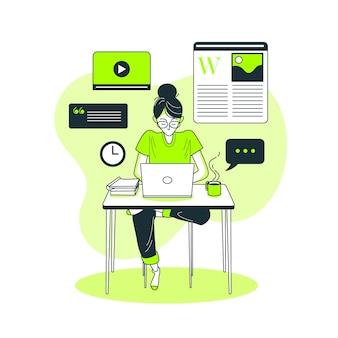 Ilustración del concepto de publicación en el blog