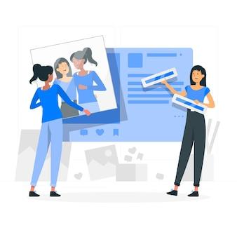 Ilustración del concepto de publicación de imagen