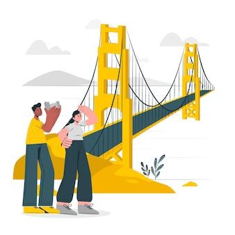 Ilustración de concepto de puente golden gate